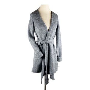 Express Long Knit Wrap Cardigan Wool Gray Duster